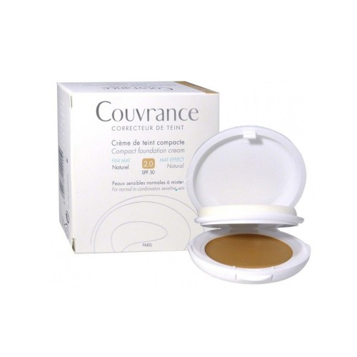 Avene Couvrance Compact Fini Mat Naturel 2.0 SPF30 10gr (Make Up σε Κρεμώδη Υφή)