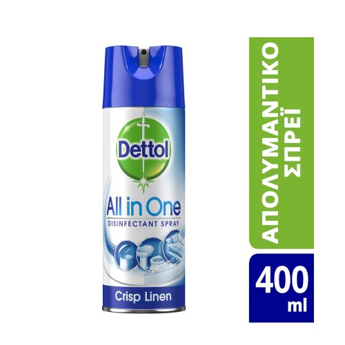 Dettol All in One Disinfectant Spray Crisp Linen 400ml (Απολυμαντικό Spray Επιφανειών)