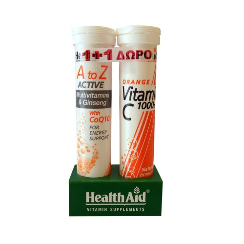 Health Aid A To Z Active Multivitamins Ginseng & Q10 Tutti Fruti 20tabs ΔΩΡΟ Vitamin C Orange 1000mg 20tabs (Τόνωση - Ενέργεια)