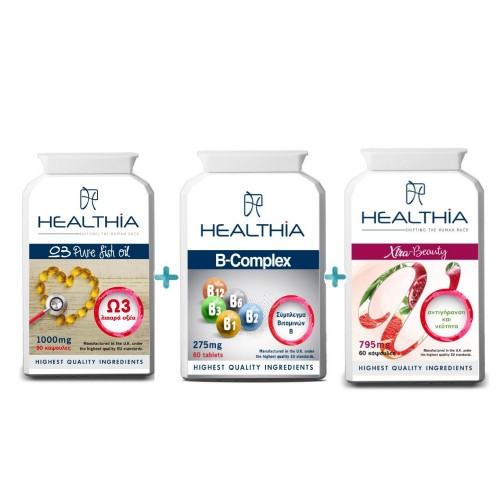 Healthia Hair Forte SET Omega 3 Pure Fish Oil 1000mg 90caps & B-Complex Vitamin 275mg 60tabs & Xtra-Beauty 795mg 60caps (ΣΕΤ για την Αντιμετώπιση της Τριχόπτωσης 3τεμ)