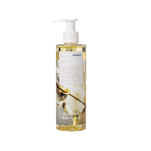 Korres Instant Smoothing Serum-In-Shower Oil Pure Cotton 250ml (Ενυδατικό Serum Oil Σώματος Αγνό Βαμβάκι)