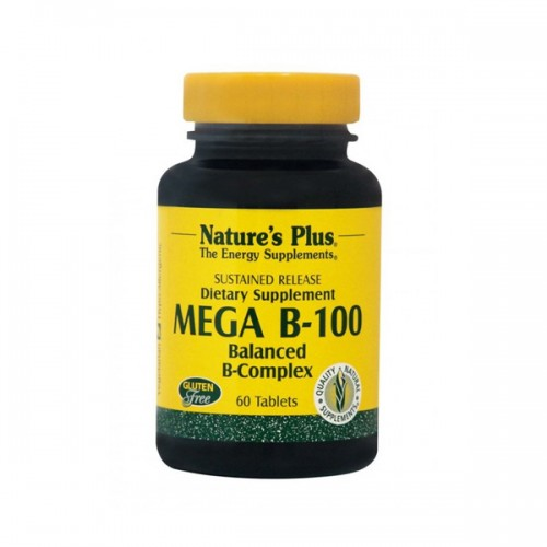 Natures Plus Mega B-100 Balanced B-Complex 60 tabs (Σύμπλεγμα Βιταμινών Β)