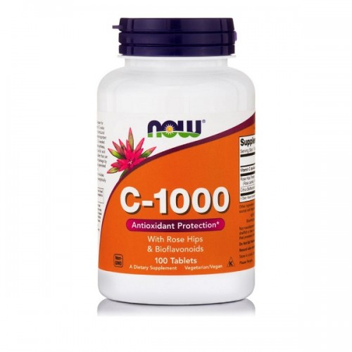 NOW Vitamin C 1000mg With Rose Hips 100tabs (With Rose Hips & Bioflavonoids)