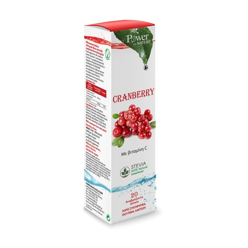 Power Health Cranberry Stevia 500mg with Vitamin C 20 Effervescent Tablets (Συμπλήρωμα Διατροφής σε Αναβράζοντα Δισκία με Εκχύλισμα Κράνμπερι και Βιταμίνη C)